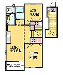 ルーベンスビラ B[2階]の間取り