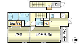 兵庫県加西市北条町古坂1丁目の賃貸アパートの間取り
