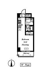 ドムス常盤 9階ワンルームの間取り