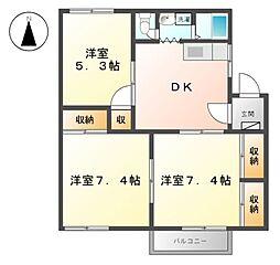 三重県桑名市野田1の賃貸アパートの間取り