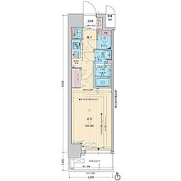 LEGESTA大阪レジデンス 7階1Kの間取り