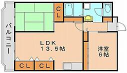 雑餉隈ステーションハイツ[4階]の間取り