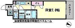 ファーストステージ江戸堀パークサイド 1階1Kの間取り