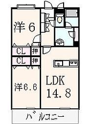 エスポワールⅡ A棟[101号室]の間取り