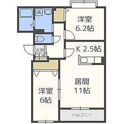 北海道札幌市北区百合が原7丁目の賃貸マンションの間取り