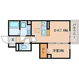 静岡鉄道静岡清水線 桜橋駅 徒歩10分の賃貸アパート 1階1DKの間取り