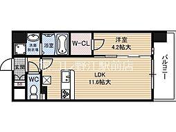 京阪本線 関目駅 徒歩6分の賃貸マンション 3階1LDKの間取り