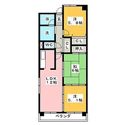 エクセレントハイムA[1階]の間取り