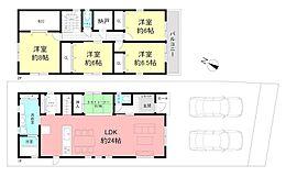 参考プラン図1階床面積66.42平米、2階床面積68.04平米