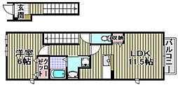 大阪府和泉市伏屋町1丁目の賃貸アパートの間取り