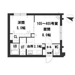 グランメール Residence元町 2階1LDKの間取り
