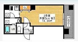 金太郎ヒルズ243松が谷 9階1Kの間取り