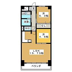 ROSE TOWER 元今泉[6階]の間取り