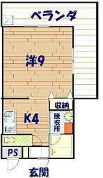 沖縄県国頭郡金武町金武4222番地の賃貸アパート 2階1Kの間取り