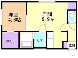 JADE円山 1階1LDKの間取り