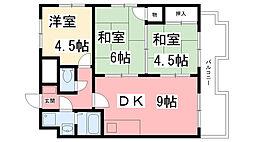 兵庫県西宮市田代町の賃貸マンションの間取り
