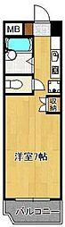 タニックス黒崎 5階ワンルームの間取り