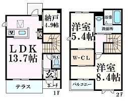 阪急神戸本線 夙川駅 徒歩17分の賃貸アパート 2階2SLDKの間取り