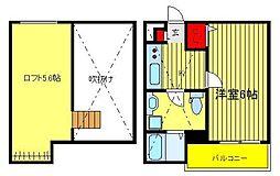 千葉県柏市北柏2丁目の賃貸アパートの間取り