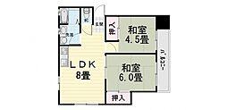 大阪府堺市西区浜寺昭和町5丁の賃貸マンションの間取り