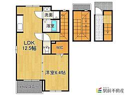 JR久大本線 御井駅 徒歩15分の賃貸アパート 3階1LDKの間取り