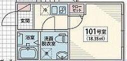 Vesta Minami Koiwa 2階1Kの間取り