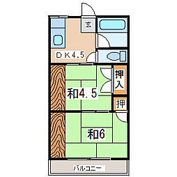 滋賀県守山市伊勢町の賃貸アパートの間取り