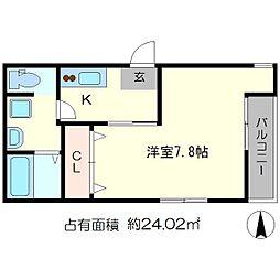 エントランスライフ京大北[3階]の間取り