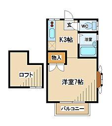 東京都府中市南町4丁目の賃貸アパートの間取り
