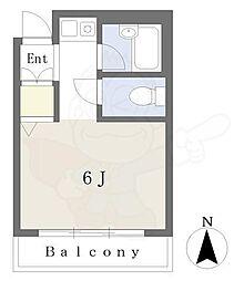 Osaka Metro谷町線 谷町六丁目駅 徒歩4分の賃貸アパート 1階ワンルームの間取り
