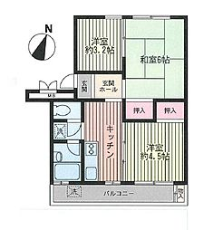 戸塚富士見丘ハイツF棟[4階]の間取り