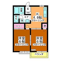 第3中平野ハウス[202号室]の間取り
