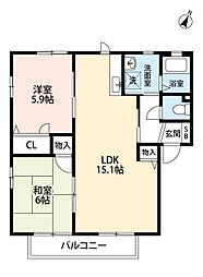 福岡県北九州市小倉南区朽網西2丁目の賃貸アパートの間取り