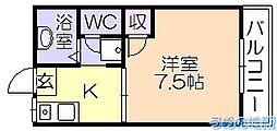 シャトレM'S壱番館 1階1Kの間取り
