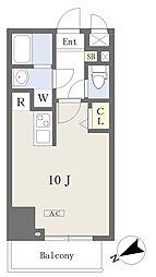 プライムコート本八幡 4階ワンルームの間取り