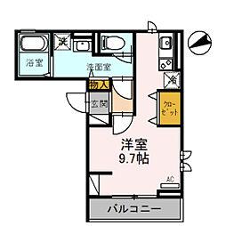 クラリス 2階ワンルームの間取り