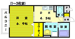 福岡県古賀市駅東1丁目の賃貸アパートの間取り