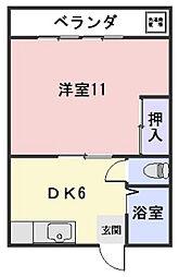 焼谷アパート[1号室]の間取り