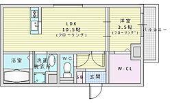 北大阪急行電鉄 緑地公園駅 徒歩8分の賃貸アパート 1階1LDKの間取り