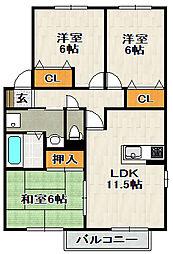 グリーンフォーレスト伊丹 B棟[2階]の間取り