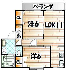 ガーデンヒルズA1[2階]の間取り