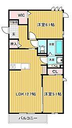 東二見D-room(佛道) 1階2LDKの間取り