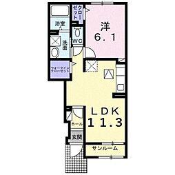 伊予鉄道郡中線 余戸駅 3.2kmの賃貸アパート 1階1LDKの間取り