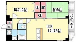 ミルキーウェイ新神戸[301号室]の間取り