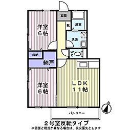 東京都日野市平山3丁目の賃貸マンションの間取り