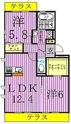 プランドールB[2階]の間取り
