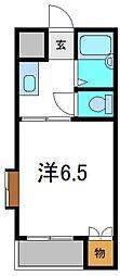 京阪本線 西三荘駅 徒歩2分の賃貸マンション 4階1Kの間取り
