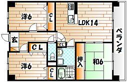 アビタシオン・OKI[9階]の間取り