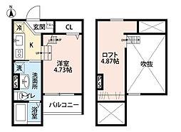 愛知県名古屋市中川区上高畑1丁目の賃貸アパートの間取り