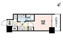 アドバンス西梅田ラシュレ 3階1Kの間取り